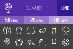 50 Summer Line Inverted Icons - Overview - IconBunny