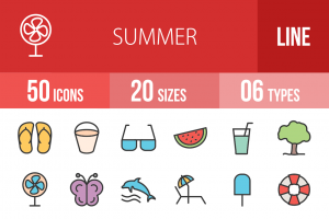 50 Summer Line Multicolor Filled Icons - Overview - IconBunny