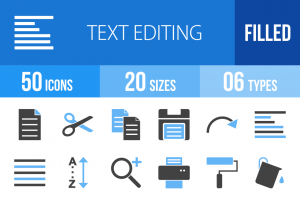 50 Text Editing Blue Black Icons - Overview - IconBunny