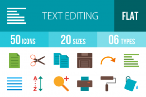 50 Text Editing Flat Multicolor Icons - Overview - IconBunny