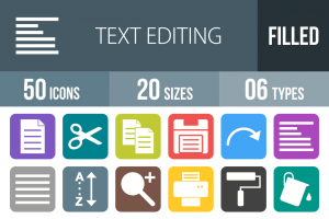 50 Text Editing Flat Round Corner Icons - Overview - IconBunny