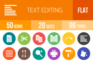 50 Text Editing Flat Round Icons - Overview - IconBunny