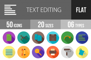 50 Text Editing Flat Shadowed Icons - Overview - IconBunny