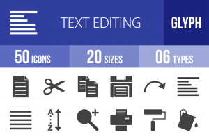 50 Text Editing Glyph Icons - Overview - IconBunny