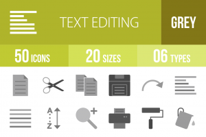 50 Text Editing Greyscale Icons - Overview - IconBunny