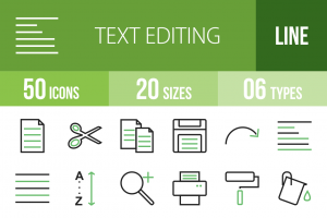 50 Text Editing Line Green Black Icons - Overview - IconBunny