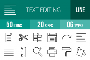 50 Text Editing Line Icons - Overview - IconBunny