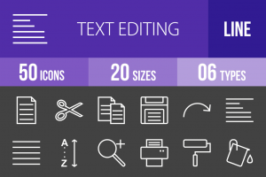 50 Text Editing Line Inverted Icons - Overview - IconBunny