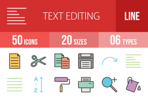 50 Text Editing Line Multicolor Filled Icons - Overview - IconBunny