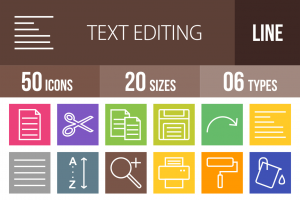 50 Text Editing Line Multicolor B/G Icons - Overview - IconBunny