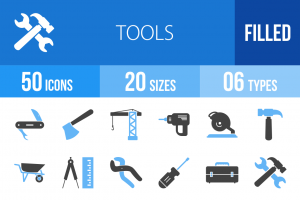 50 Tools Blue Black Icons - Overview - IconBunny
