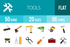 50 Tools Flat Multicolor Icons - Overview - IconBunny