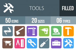 50 Tools Flat Round Corner Icons - Overview - IconBunny