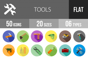 50 Tools Flat Shadowed Icons - Overview - IconBunny