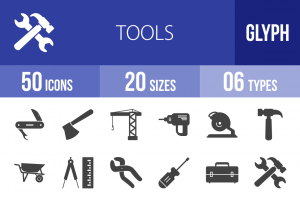 50 Tools Glyph Icons - Overview - IconBunny