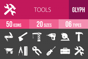 50 Tools Glyph Inverted Icons - Overview - IconBunny