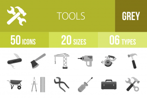 50 Tools Greyscale Icons - Overview - IconBunny