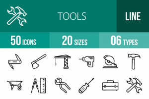 50 Tools Line Icons - Overview - IconBunny