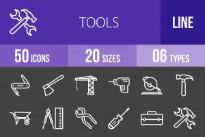 50 Tools Line Inverted Icons - Overview - IconBunny