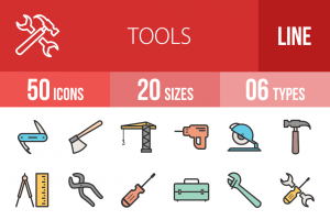 50 Tools Line Multicolor Filled Icons - Overview - IconBunny