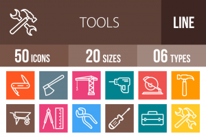 50 Tools Line Multicolor B/G Icons - Overview - IconBunny