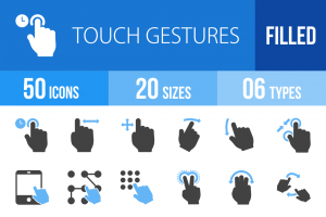 50 Touch Gestures Blue Black Icons - Overview - IconBunny