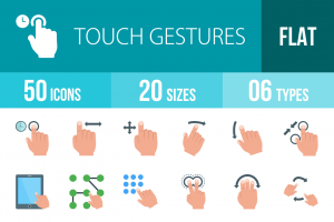 50 Touch Gestures Flat Multicolor Icons - Overview - IconBunny