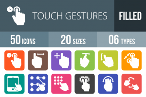 50 Touch Gestures Flat Round Corner Icons - Overview - IconBunny