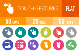 50 Touch Gestures Flat Round Icons - Overview - IconBunny
