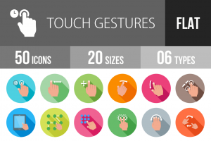50 Touch Gestures Flat Shadowed Icons - Overview - IconBunny