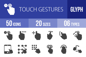 50 Touch Gestures Glyph Icons - Overview - IconBunny