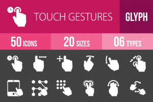 50 Touch Gestures Glyph Inverted Icons - Overview - IconBunny