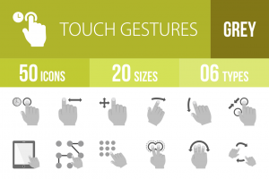 50 Touch Gestures Greyscale Icons - Overview - IconBunny