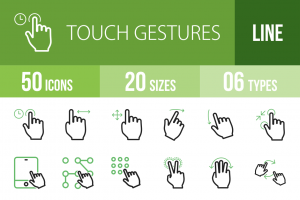 50 Touch Gestures Line Green Black Icons - Overview - IconBunny