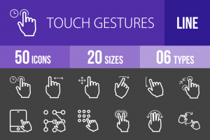 50 Touch Gestures Line Inverted Icons - Overview - IconBunny