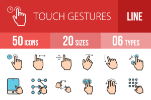 50 Touch Gestures Line Multicolor Filled Icons - Overview - IconBunny