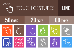 50 Touch Gestures Line Multicolor B/G Icons - Overview - IconBunny