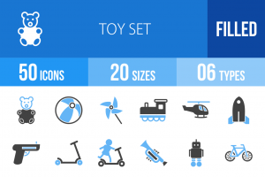 50 Toy Set Blue & Black Icons - Overview - IconBunny