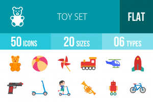 50 Toy Set Flat Multicolor Icons - Overview - IconBunny