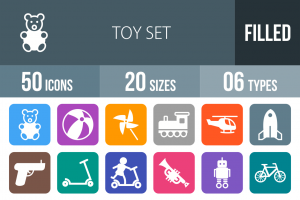50 Toy Set Flat Round Corner Icons - Overview - IconBunny