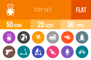 50 Toy Set Flat Round Icons - Overview - IconBunny