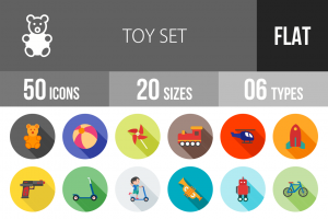 50 Toy Set Flat Shadowed Icons - Overview - IconBunny