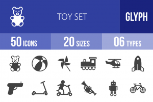 50 Toy Set Glyph Icons - Overview - IconBunny