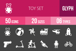 50 Toy Set Glyph Inverted Icons - Overview - IconBunny