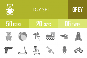 50 Toy Set Greyscale Icons - Overview - IconBunny