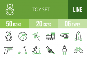 50 Toy Set Line Green & Black Icons - Overview - IconBunny