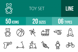 50 Toy Set Line Icons - Overview - IconBunny