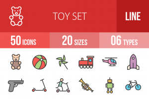 50 Toy Set Line Multicolor Filled Icons - Overview - IconBunny