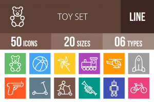 50 Toy Set Line Multicolor B/G Icons - Overview - IconBunny