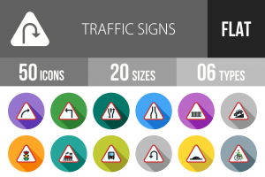 50 Traffic Signs Flat Shadowed Icons - Overview - IconBunny